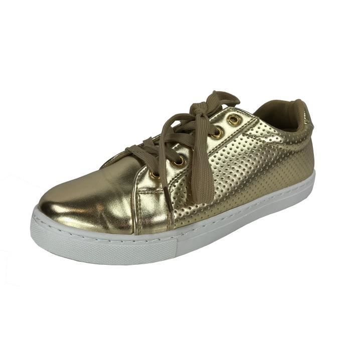 Bella Marie Femmes Plimsoll Sneaker Perforé Lace Up Low Top Chaussures Mode S4J0O Taille-38 1-2