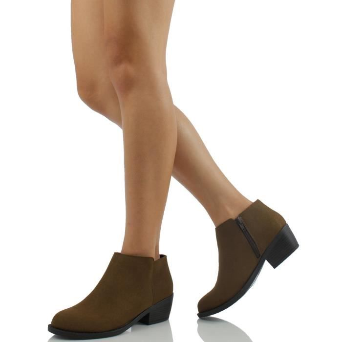 Massen Distress Faux Suede Leather Round Toe Heel Ankle Bottes SEB1A Taille-42 c68rEHM3sN
