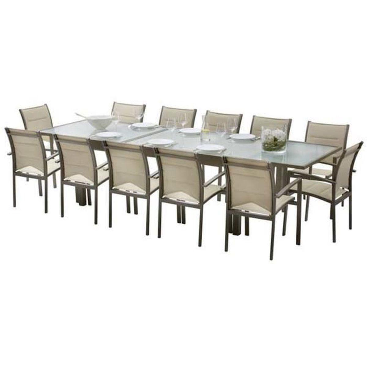 Ensemble table et chaises de jardin MODULO 12 PLACES TAUPE - Achat ...
