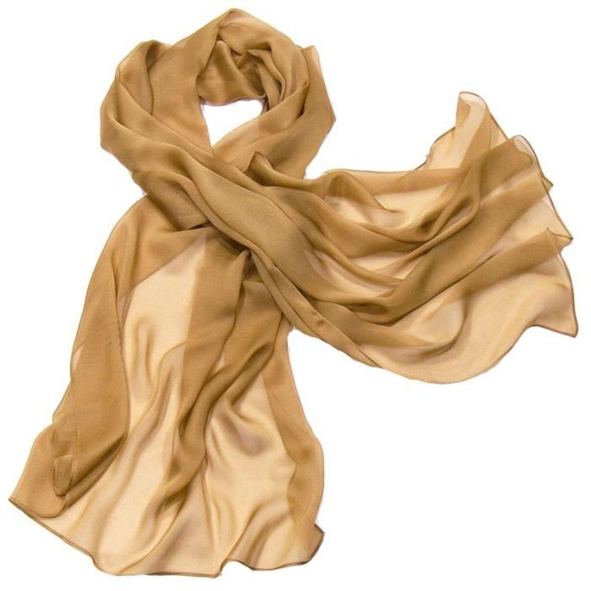 31e3fae33fc5 Etole beige camel mousseline de soie premium Unique Beige - Achat ...
