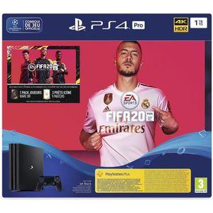 CONSOLE PS4 NOUVEAUTÉ Console PS4 Pro 1To Noire + FIFA 20 Jeu PS4 + PS P