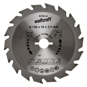 WOLFCRAFT Lame scie circulaire CT - 18 dents - ? 130 x 16 mm