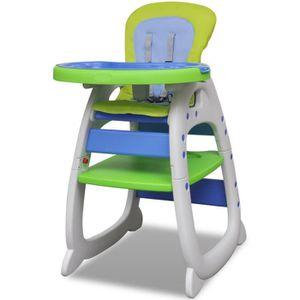 CHAISE HAUTE  Chaise haute convertible 3 en 1 bleu-vert