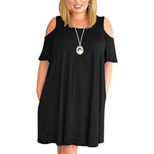 T-SHIRT Épaule froide Taille Plus de femmes T-shirt Robe S