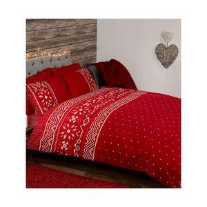 housse de couette de noel rouge achat vente housse de. Black Bedroom Furniture Sets. Home Design Ideas