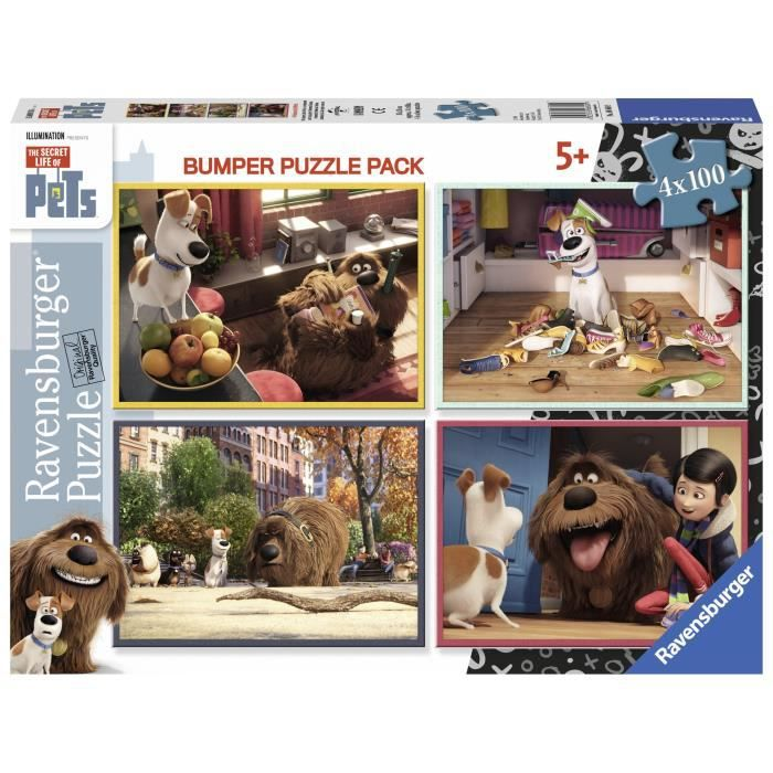 Puzzle Comme des bêtes 4 x 100 pièces - Retrouve tes personnages préférés du film - Mixte - A partir de 6 ansPUZZLE