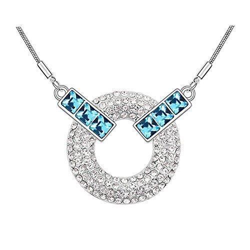 Cadeaux Saint-Valentin des femmes: Mode Swarovski Elet Cristal Elets Pendentif bleu et rond blanc pour &P70XE