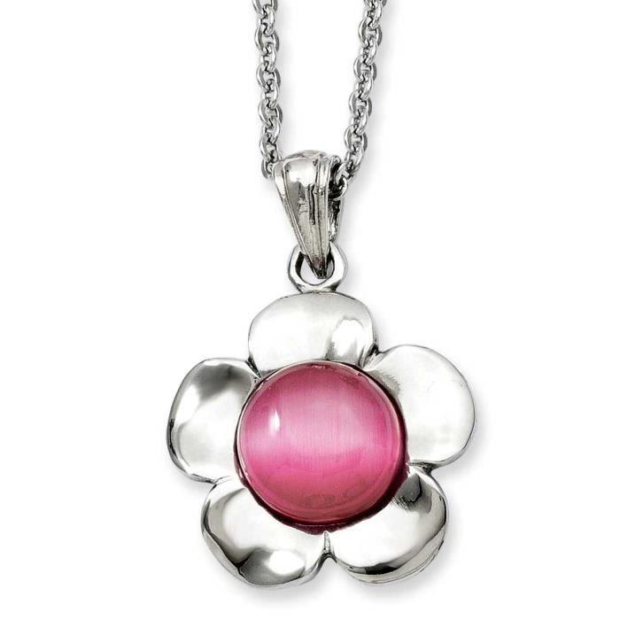 Acier inoxydable fleur rose Collier pendentif Œil-de-chat 45,7 cm (18 )