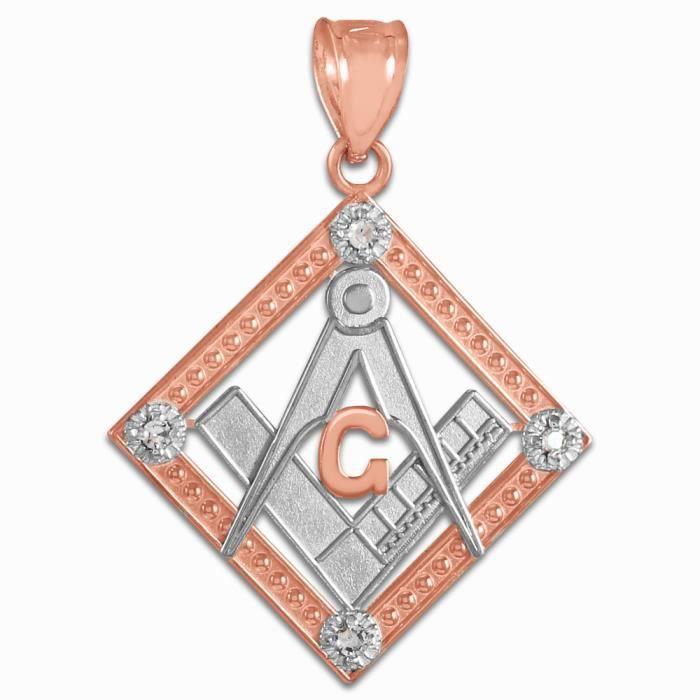 Pendentif 10 ct 471/1000 tonnes Deux en or rose diamant Lieu Franc Maçon