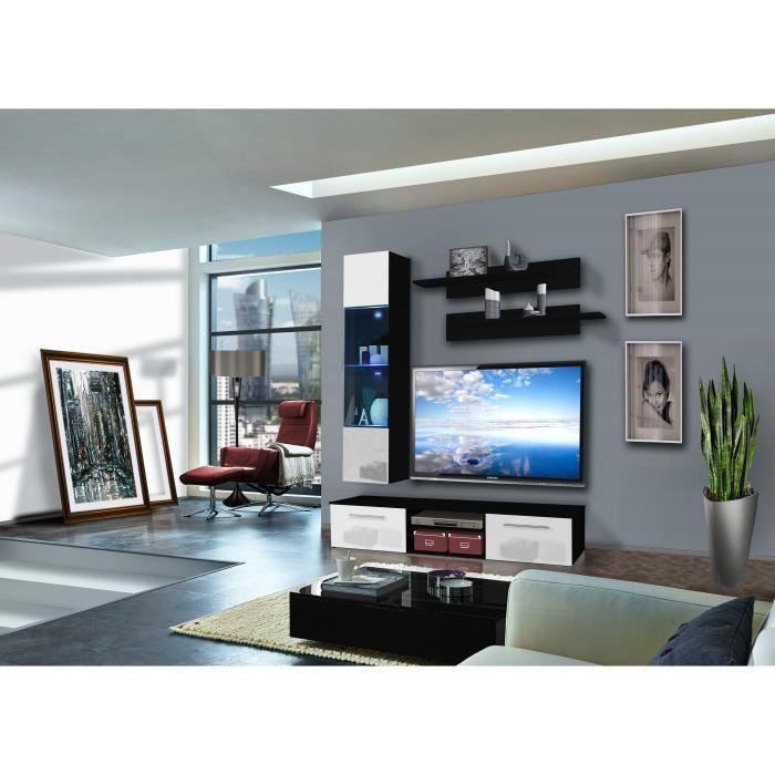PRICE FACTORY - Meuble TV COVER F design, coloris noir et blanc ...