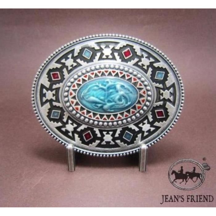 ecdfd7153c3 Boucle ceinture western country cowboy Indien turquoise rouge ovale ...