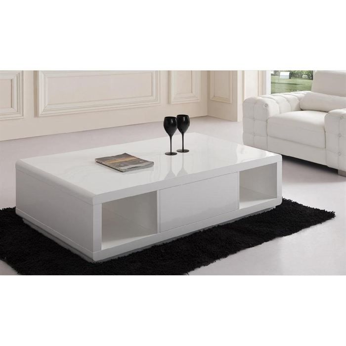 table basse laqu e blanche elodie achat vente table basse table basse laqu e blanche cdiscount. Black Bedroom Furniture Sets. Home Design Ideas