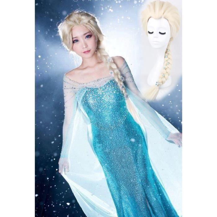 69a12f33ca86ce Kit Perruque + Robe Elsa Déguisement La Reine Des Neiges Adulte Cosplay +  Clips Neiges