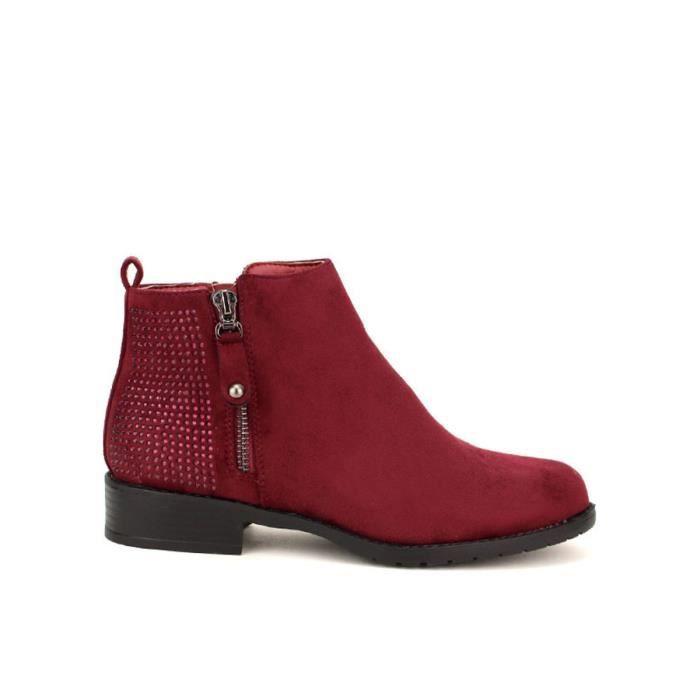 Cendriyon Bottines Bordeaux Chaussures Femme Bordeaux - Chaussures Bottine Femme
