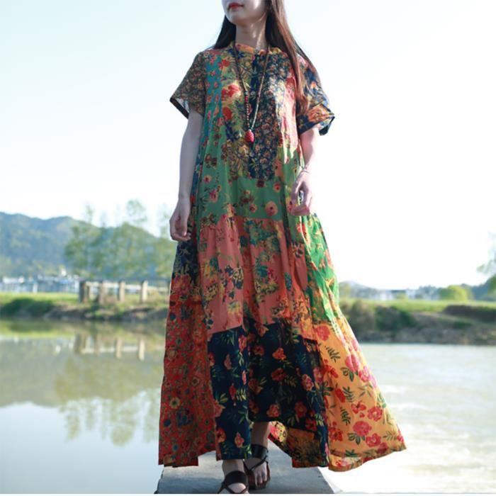 6bc3354668f Vêtement Femme- Robe - hippie imprimée Rouge Rouge - Achat   Vente ...