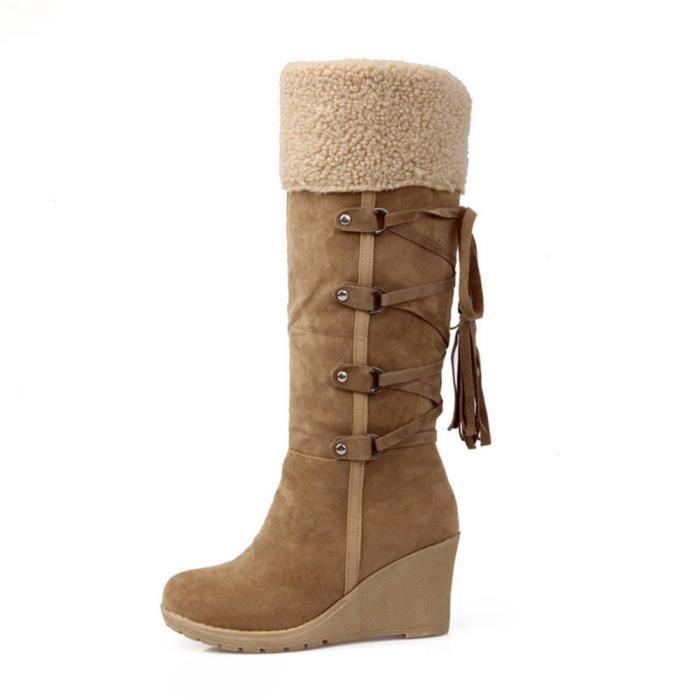 Bottes Femmes Hiver Nouvelle Mode Peluche Boots BJYG-XZ023Marron35