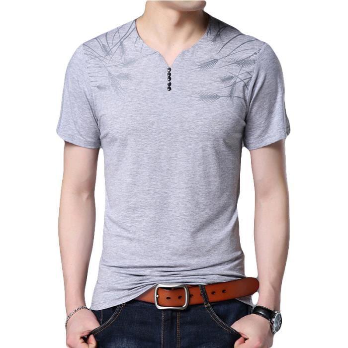 Shirt Cher Manches À Courtes Rond Noir Slim Vêtement Masculin Col Homme En Impression Tee T Hommes Pas MVpqSUz