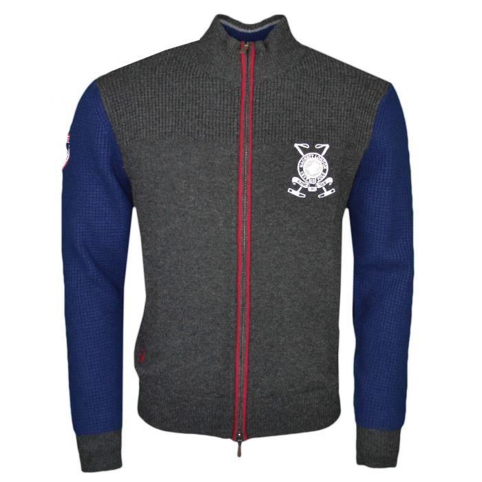 946c8c955e9d Gilet zippé Hackett gris et bleu marine en laine pour homme - Couleur  Gris  - Taille  M