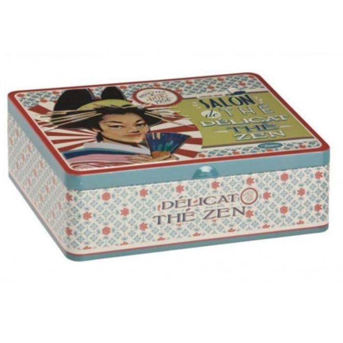 boite de rangement sachets d licat th zen 6 compartiments en m tal bleu d co japon maison. Black Bedroom Furniture Sets. Home Design Ideas