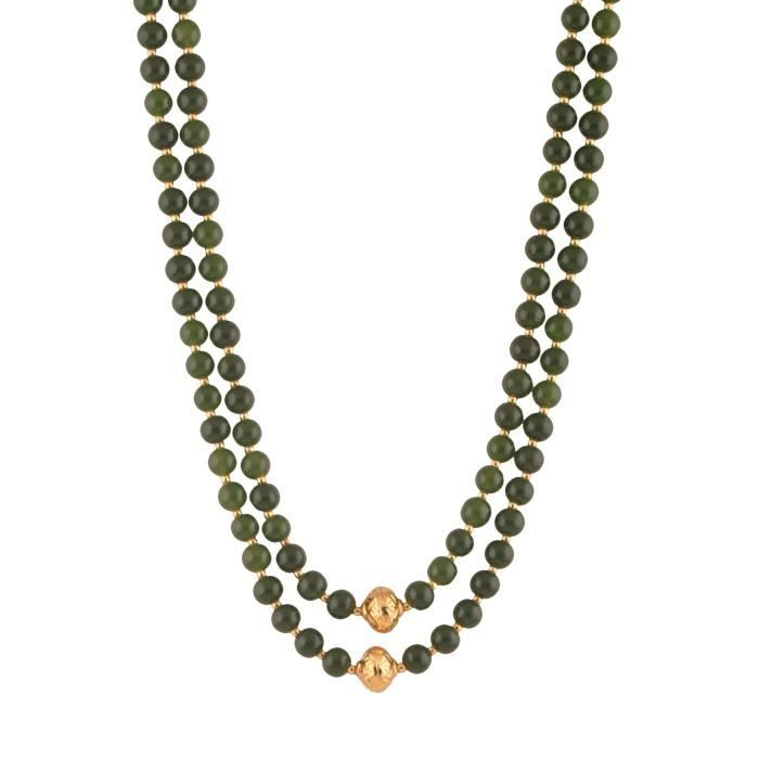 Womens Beads Jewellery Green Pearl Multi-strand Necklace For (12501) T7LPN