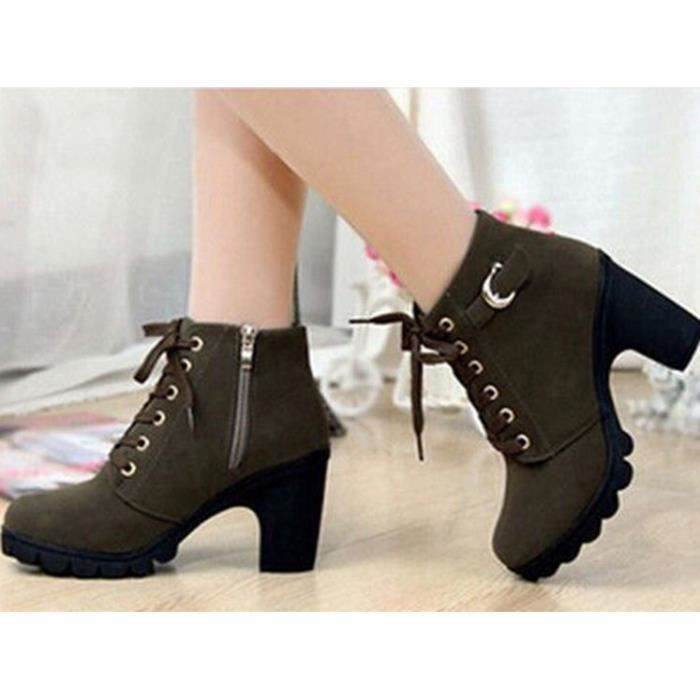Motorcycle forme simales chaussures Femme hauts 37 Vert Militaire Boots US6 millesime talons plate SODIAL Martin Bottes R a nt08Uxqnvw