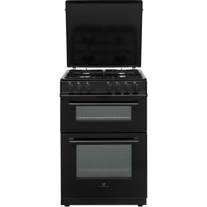 Cuisinière gaz 60x60 Double fours électrique Multi cata + CN - 4 feux noir