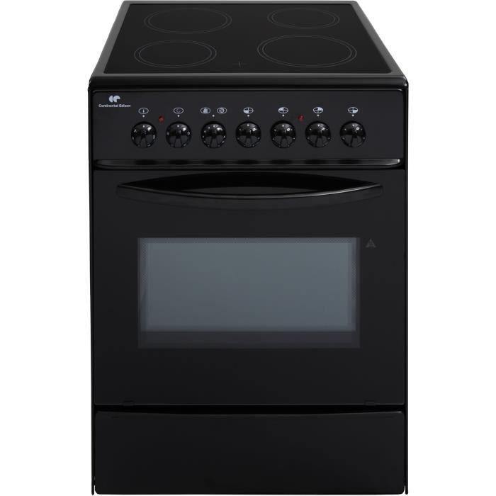 CONTINENTAL EDISON CVMC6060B - Cuisinière table vitrocéramique- 4 foyers-1700w- Four électrique- Catalyse-61L-A-L60XH85cm-Noir