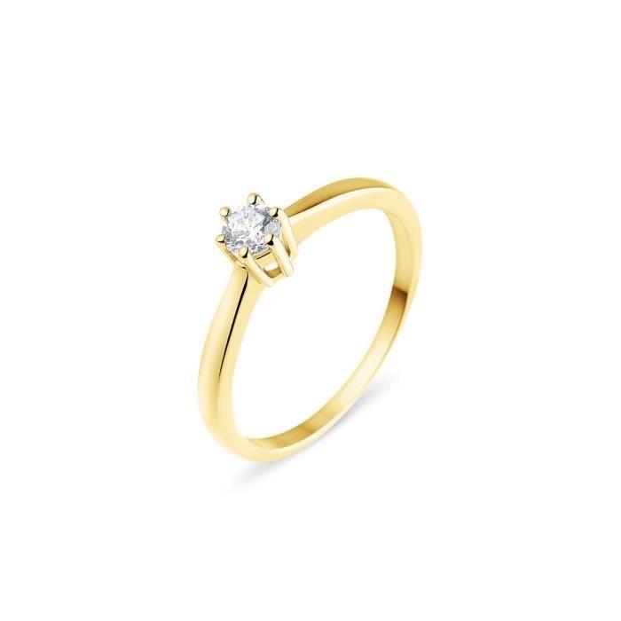 MONTE CARLO STAR - Solitaire en Or 18 Carats et Diamant Monté 6 Griffes - Femme