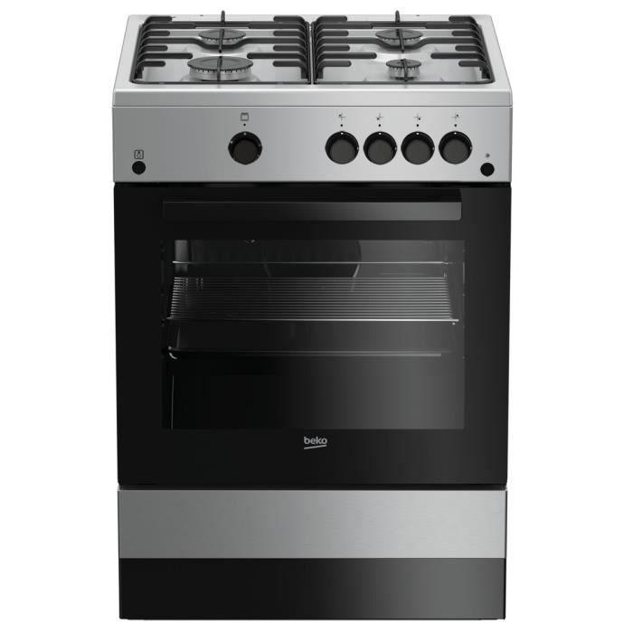 BEKO CUG60S - Cuisinière table gaz 4 foyers - 2,9KW - Four gaz - Nettoyage manuel - 73L - Larg 60cm x Haut 85cm - Coloris Silver