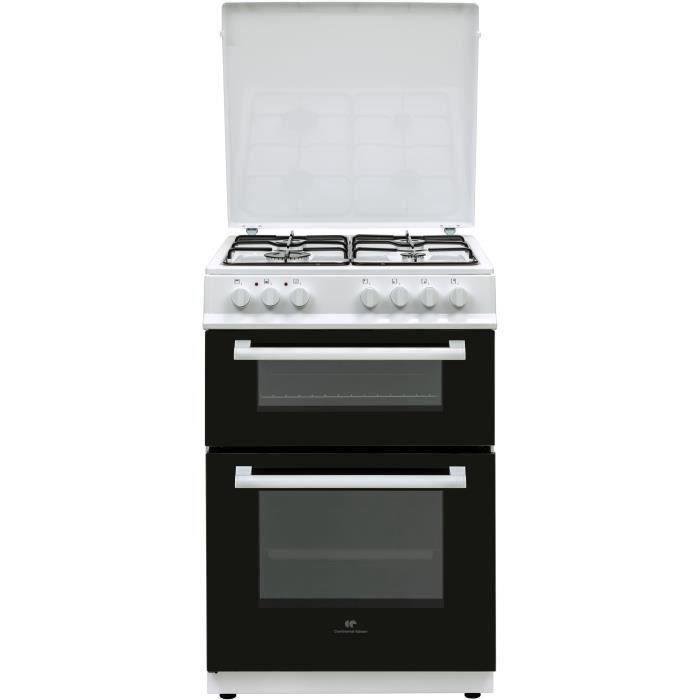 Cuisinière gaz 60x60 Double fours électrique Multi cata + CN - 4 feux blanc
