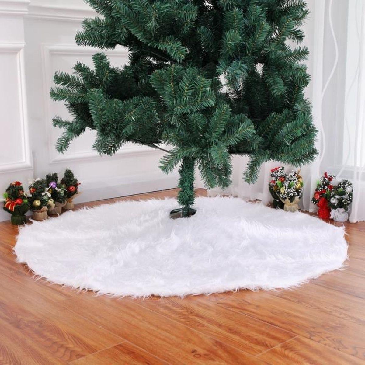 Tapis De Sapin Arbre Noël Pied Diamètre 122cm Grand Décoration Avec Fils  Longues Modèle 10 Blanc