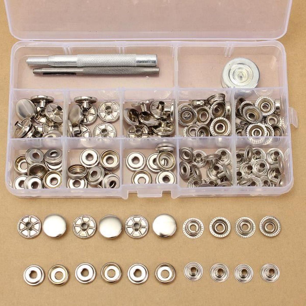 30X 15mm bouton pression metal argent + outil pour cuir maroquinerie ... d482fb0746c