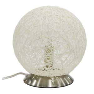 LAMPE A POSER Lampe tactile tressée blanc - Ø 20 x H 24 cm
