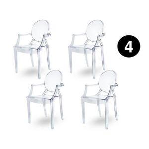 Lot De 4 Chaises Transparentes Achat Vente Pas Cher