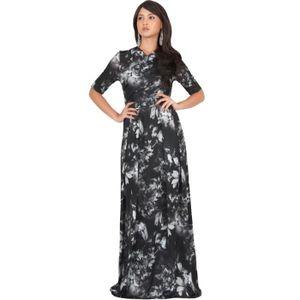 6d7ead77ac4 ROBE longue robe d été fluide à manches courtes pour fe