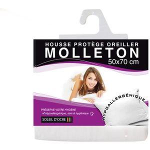 PROTEGE OREILLER Sous taie protège oreiller molleton 50x70 cm blanc