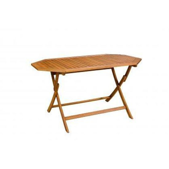 Table de jardin hexagonale en bois KAROL - Achat / Vente ...