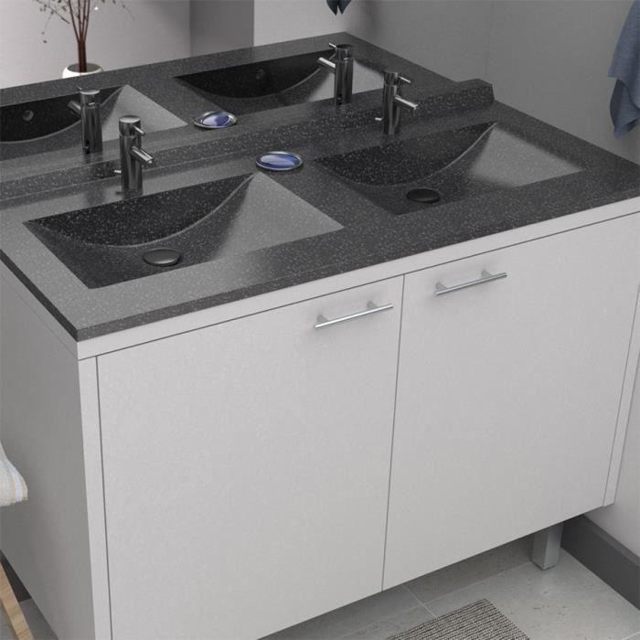 Plan double vasque noir granité 140 cm ANDERNOS - Achat / Vente plan ...