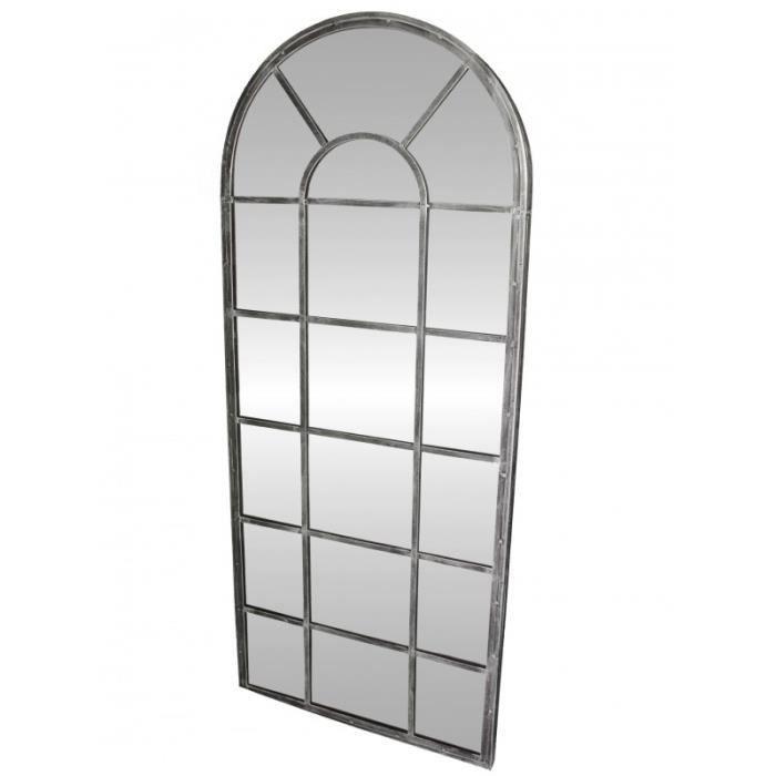 Grand miroir d 39 entr e g ant style orangerie en fer acier gris 4x66x159cm achat vente miroir - Miroir d entree ...