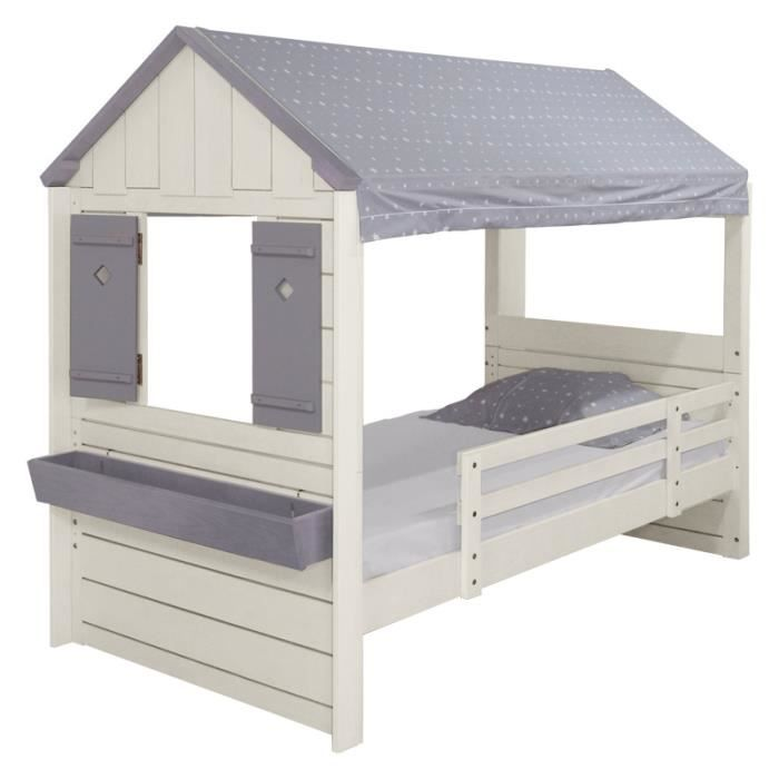 lit cabane gar on pm blanc et gris toil achat vente lit combine lit cabane gar on pm blanc. Black Bedroom Furniture Sets. Home Design Ideas