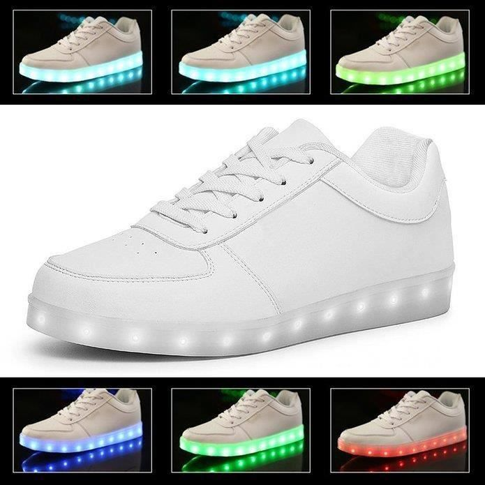 Chaussures LED Femme Homme Blanc USB Rechargeab...