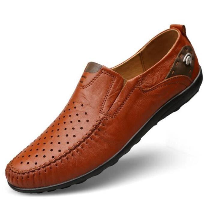 chaussures homme Super doux Cuir véritable Marque De Luxe Moccasins Nouvelle Mode Antidérapant Respirant Grande Taille 45 u6tY1