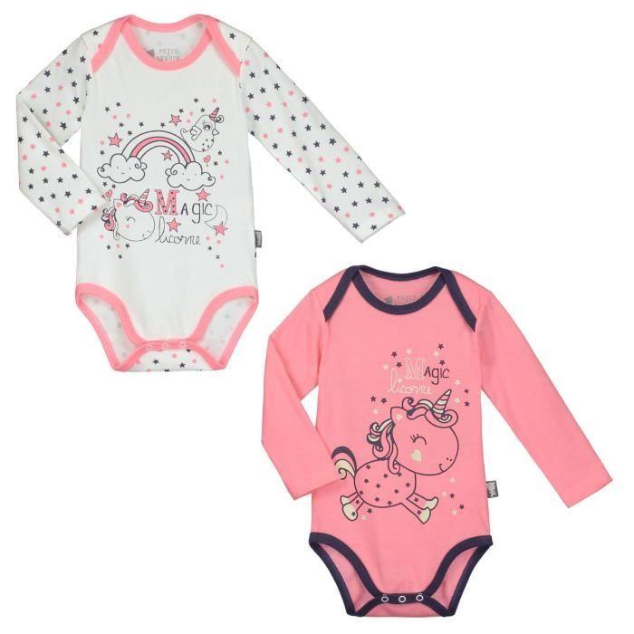ec8011b7e1ed9 Lot de 2 bodies manches longues bébé fille Magic Licorne - Taille - 3 mois  (62 cm)