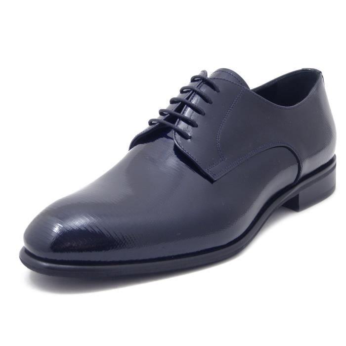 Derby homme, cuir brillant bleu foncé, chaussures élégantes, OSVALDO PERICOLI