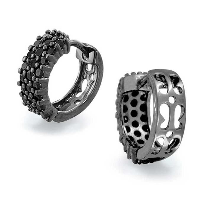 Bling Jewelry pendentif en argent rhodié noir CZ Boucles dHuggie noir