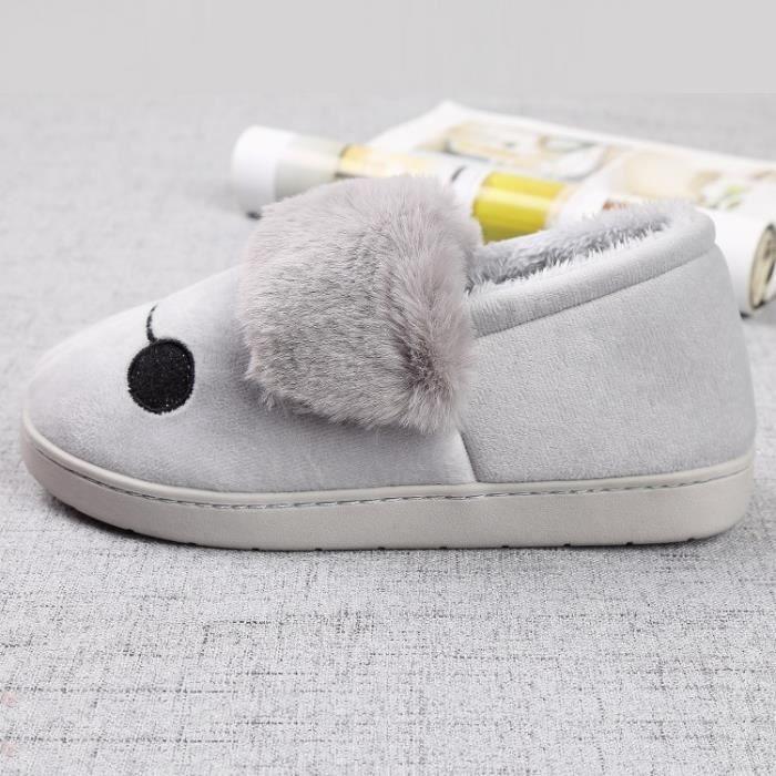 Automne et mode d'hiver visage souriant mignon chaussures en coton chaud non - slip pantoufles en coton chaussures maison KV3m7sl