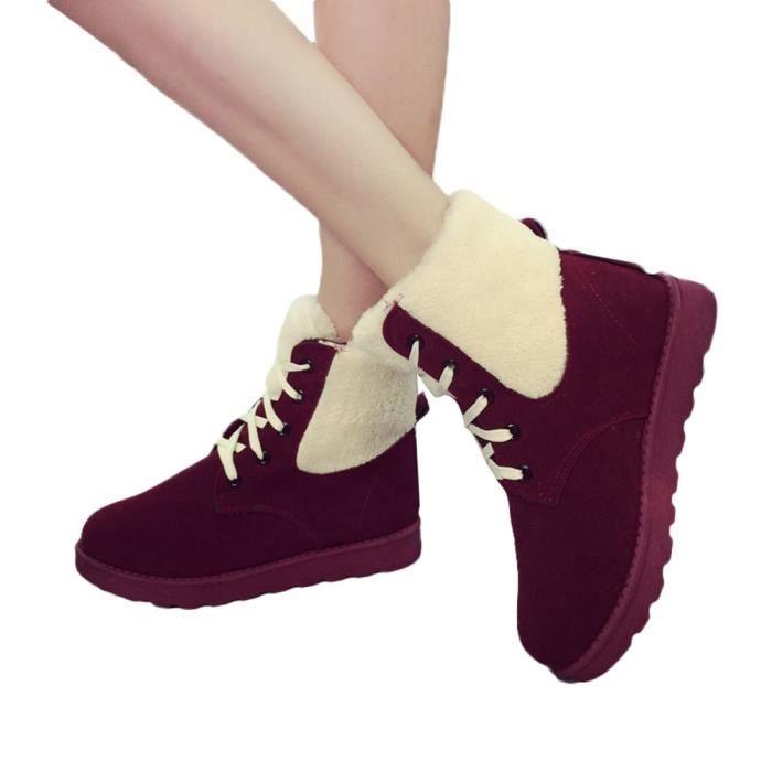 Femme Chaussures 6467 Martin Plates Bout Gardez Neige Short Bottes Rond Lacets De Chaud Hiver pnTx1tO5q