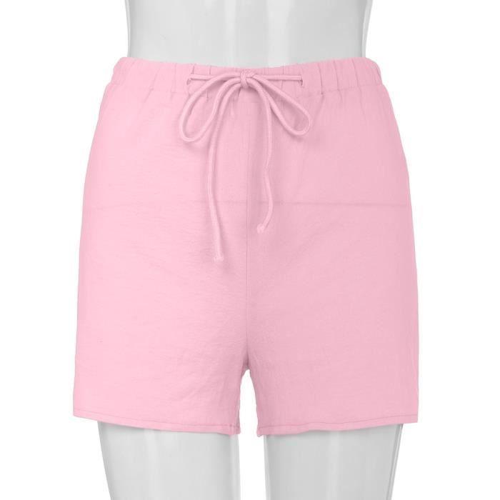 Lin Rose Pantalons Drawstring Élastique Coton Femmes Courtes Simple Shorts qK65x8Kt4w