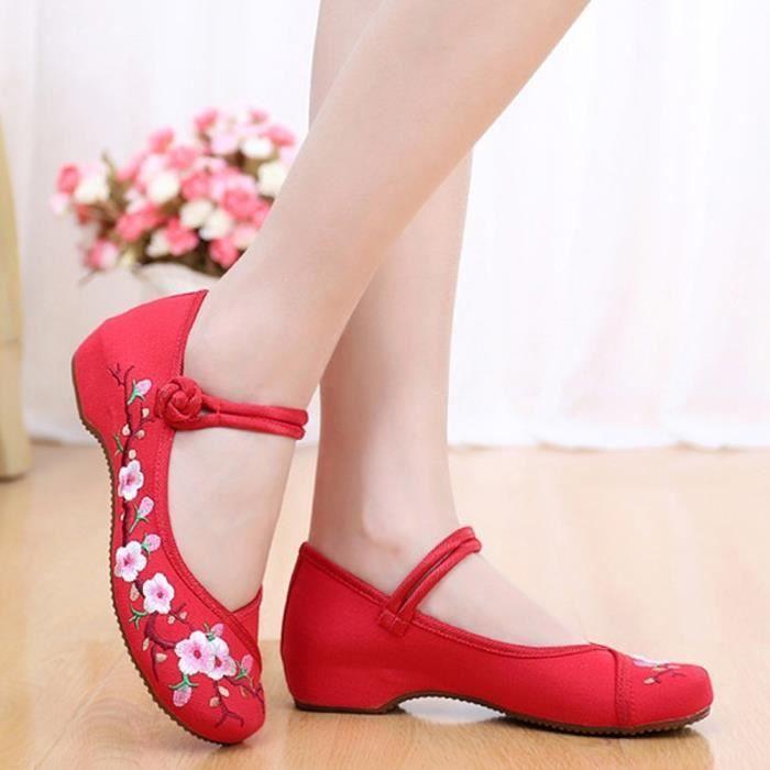 XZ985C4XZ985C4Style chinois broderie Bracelet en toile Mocassins plat Chaussures causales Nouvelle Arrivée des femmes