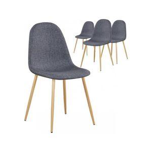 CHAISE Lot de 4 chaises en tissu gris design scandinave a 0d254da726de